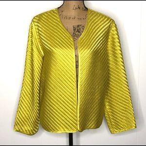 Chico's Basket Weave Silk Ribbon Jacket-Size M(12)